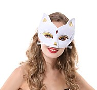White Cat Fox PS Half Face Halloween Party Mask