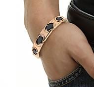 """Healing Magnetic Ceramic Tennis Bracelet Black With Golden For Men Or Women 8.5"""""""