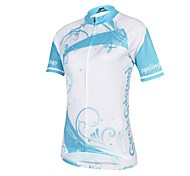 CHEJI Women's Pure High Quality Ultraviolet Resistant And Wicking Terylene Short Sleeve Cycling Jersey—Blue+White