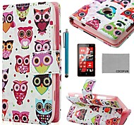 COCO FUN® Colorful Owl Pattern PU Leather Full Body Case with Screen Protector, Stylus and Stand for Nokia Lumia N520