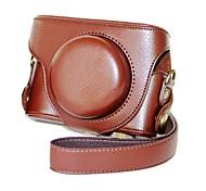 cuero dengpin® patrón desmontable protectora estuche de la cámara cubierta de la bolsa litchi con correa para el hombro para LX7 lumix panasonic