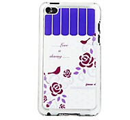 Rose and Two Birds Leather Vein Pattern PC Hard Case for iPod touch 4