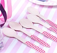 10 PCS Wooden Spoons Multicolor Chevron Party Eco-friendly Utensils Disposable Cutlery Wedding Holiday Nursery Shower