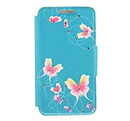 Kinston Blue Bottom Red Butterfly Diamond Paste Pattern PU Leather Full Body Case with Stand for iPhone 6 Plus