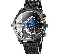 Männer zwei Zeitzonen schwarze Stahlband-Quarz-Armbanduhr (farbig sortiert)