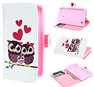 Owl Family Design Leather Case Cover with Stand and Card Slot for Nokia Lumia 630 635