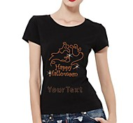 Personalized Rhinestone T-shirts Happy Halloween Boo Pattern Women's Cotton Short Sleeves