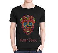 personalizzati strass t-shirt teschio rosso di cotone manica corta da uomo modello