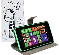 Wallet Style Cartoon PU Leather Full Body Case with Stand and Card Slot for Nokia Lumia 630/635