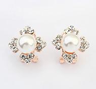 mode coréenne quatre fleurs de feuille boucles d'oreilles perle brillante (plus de couleurs)