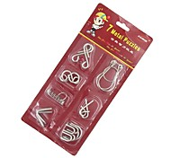 7PCS Classic Knot Intellectual Deduction IQ Teaser Ring Puzzle Toy Instructions included