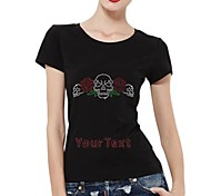 Personalized T-shirts Rose And Skull Pattern Women's Cotton Short Sleeves