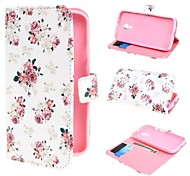 Rose Flowers Wallet PU Leather Case Cover with Stand and Card Slot for Motorola Moto G2 XT1063 Dual SIM