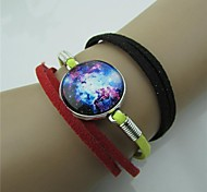 Star Series Black Yellow Red 3 Colors Leather Bracelet