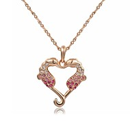 Noble 18K Rose Gold Plated Pink Austria Crystal Kiss Kish Hippocampus Pendant Necklace