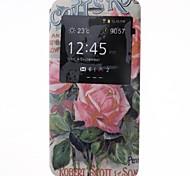 capa de couro pu com rosas padrão vista da janela para o iPhone 6 Plus