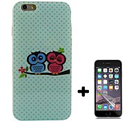 Lovers Owl Pattern Soft TPU with Screen Protector Case Cover for iPhone 6