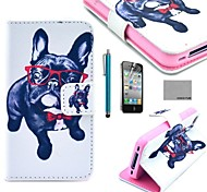 COCO FUN® Glasses Dog Pattern PU Leather Full Body Case with Screen Protector for iPhone 4/4S
