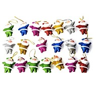 Cute Shiny Little Santa Claus Decorative Doll for Christmas - Multicolored  20 PCS