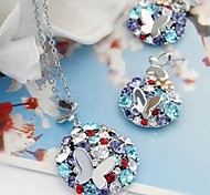 Elegant Fashion Colorful Necklace And Stud Earrings Jewelry Set