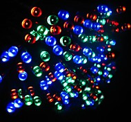 17M 100-LED Solar Powered Christmas Lights String Lamp Indoor Outdoor Flashing Light Strip - RGB