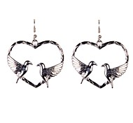 Fashion Heart With 2 Birds Drop Earrings