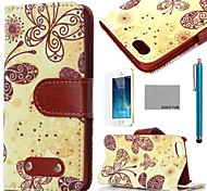COCO FUN® Yellow Butterfly Pattern PU Leather Full Body Case with Film, Stand and Stylus for iPhone 5/5S