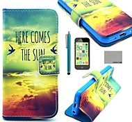 COCO FUN® Sun Bird Pattern PU Leather Full Body Case with Screen Protector for iPhone 5C