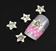10pcs Silver Pearl Star Alloy Nail Art Decoration