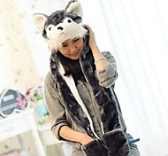 Kigurumi Pajamas Dog Hat Halloween Animal Sleepwear Gray Print Faux Fur / Polyester Hats Unisex Halloween / Carnival