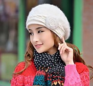 Women's Fashion Joker Flowers Rabbit Hair Beret Hat