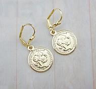 Banhados a ouro 18k moeda brincos de pingente