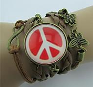 Handmaded Butterfly Multilayers Peace Symbol Leather Wrap Bracelets