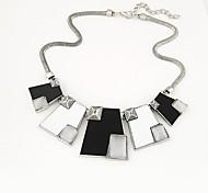 European Style Fashion Metal Geometric Black and White Wild Temperament Necklace