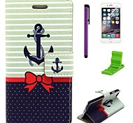 Bowknot Ships Anchor Pattern PU Leather Case with Screen Protector,Stylus and Stand for iPhone 6
