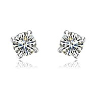 Classic 18K Platinum Plated Party Jewelry Shining Simulated Diamond 4 Prongs Stud Earrings