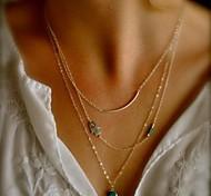 Shixin® Vintage Gem Alloy Tiny Pendant Necklace (Golden) (1 Pc)