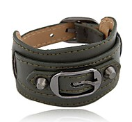 Fine Metal Belt Buckle Wild Personality Concise Fashion Leather Bracelet