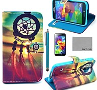 Coco fun® padrão nó chinês estojo de couro pu com protetor de tela, caneta e suporte para Samsung s5 mini-g800