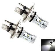 2pcs 30w h4 6x cree 6000k 1200lm xb-d r3 LED de luz blanca para el faro del coche (CC 10-30 V)