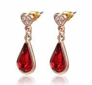 18k unique, plaqué or rose utilisation de bijoux brillant autriche cristal rouge goutte d'eau boucles d'oreilles