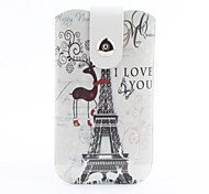 Eiffel Tower Pattern Pouch Bag Case with Metal Buckle and Belt Clip for iPhone 6 Plus