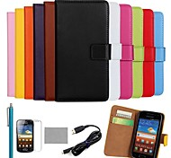 COCO FUN® Luxury Ultra Slim Solid Color Genuine Leather Case with Film,Cable and Stylus for Samsung Galaxy Ace 2 i8160