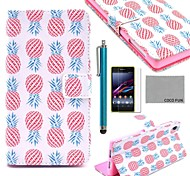 COCO FUN® Pink Pineapple Pattern PU Leather Case with Screen Protector, Stylus and Stand for Sony Xperia Z1 L39H