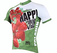 PaladinSport Men's Strawberry Spring and Summer Style 100% Polyester Red and Green Short Sleeved Cycling Jersey