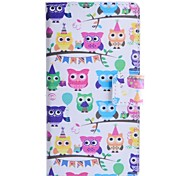 Owl Party Pattern PU Leather Case with Stand and Card Slot for Sony Xpeira E3