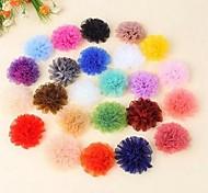 DIY Handmade Chiffon Satin Fabric Cloth Flowers Ornaments(5Pcs Random Delivery)