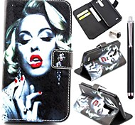 Smoking Monroe Pattern PU Leather Cover and Touch Pen with Diamond Dust Plug for LG G3