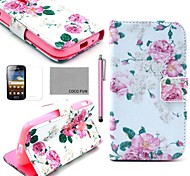 COCO FUN® Rose Flower Pattern PU Leather Case with Screen Protector, Stylus and Stand for Samsung Galaxy Ace 2 i8160