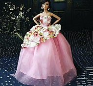Barbie Doll Elegant Princess Pink Plower Pattern Wedding Dress